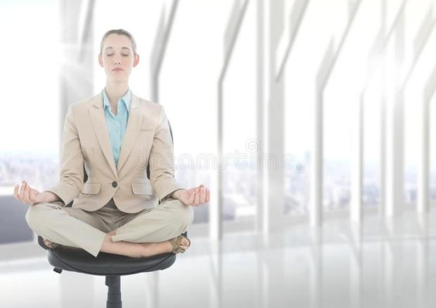 business-woman-meditating-chair-flare-against-blurry-white-window-digital-composite-91276403